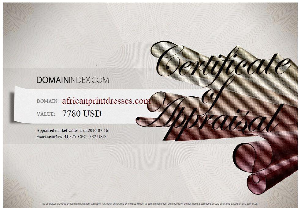 AfricanPrintDresses.com Appraisal
