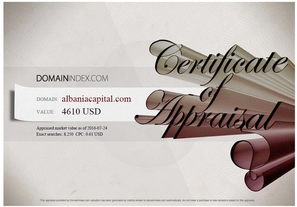AlbaniaCapital.com Appraisal