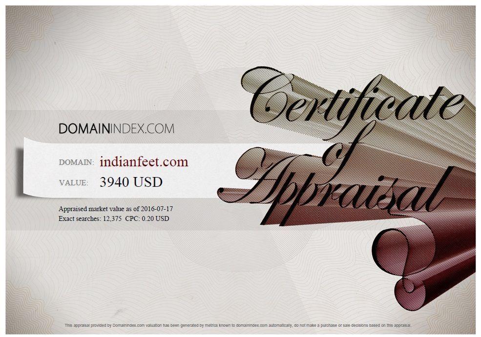 IndianFeet.com Appraisal