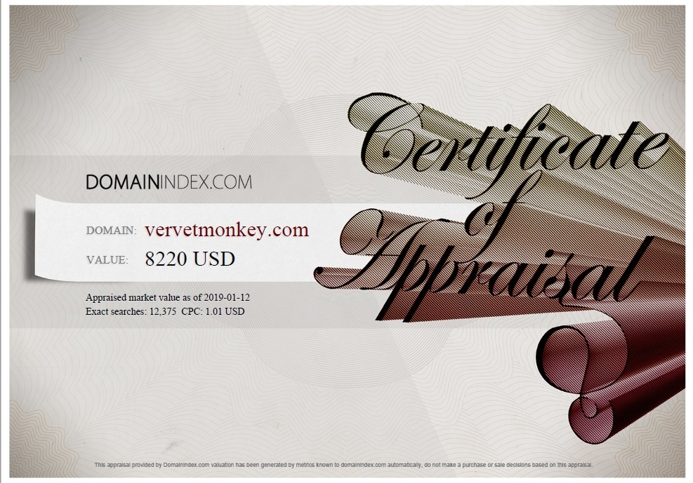 Vervet Monkey.com Appraisal